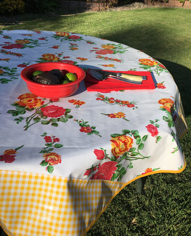 Round White Rose and Yellow Gingham Oilcloth Tablecloth