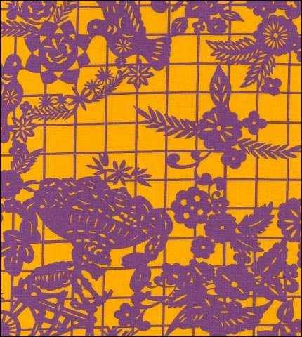 Yellow and Purple Day of the Dead Oilcloth Fabric