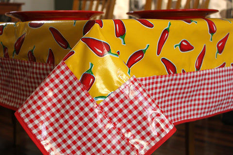 "Yellow Chilies And Gingham Oilcloth Tablecloth 84"" x 56"""