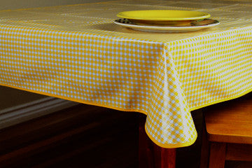 "Yellow Gingham Oilcloth Tablecloth 84"" x 47"""