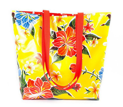 Reversible Oilcloth Totebag - Yellow Hibiscus
