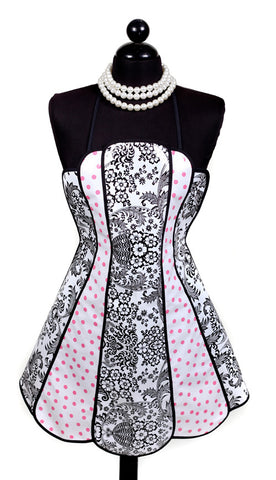 Retro Black Toile and Pink Polka Oilcloth Apron