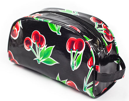 Black Cherry Oilcloth Cosmetic Bag - Large