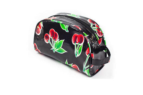 Black Cherry Oilcloth Cosmetic Bag - Small