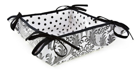 Reversible Oilcloth Bread Basket in Black and White Toile