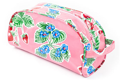 Pink Strawberry Oilcloth Cosmetic Bag- Large