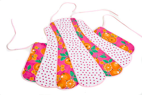 Retro Oranges and Pink Polka Oilcloth Apron