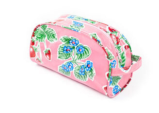 Pink Strawberry Oilcloth Cosmetig Bag - Small