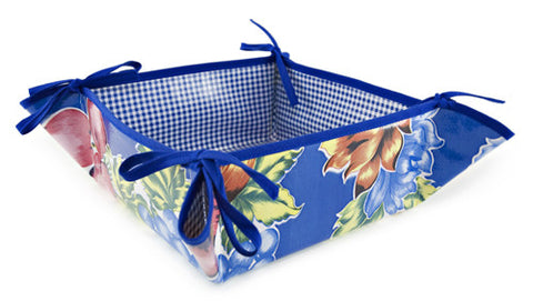 Reversible Oilcloth Bread Basket in Retro Blue Flower