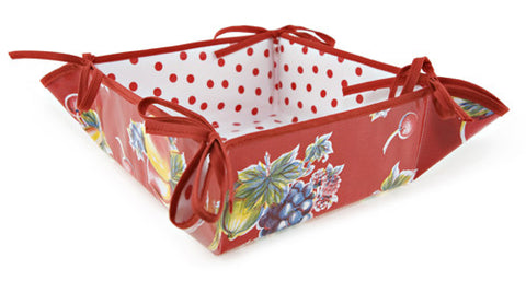 Reversible Oilcloth Bread Basket in Vintage Apples and Pears