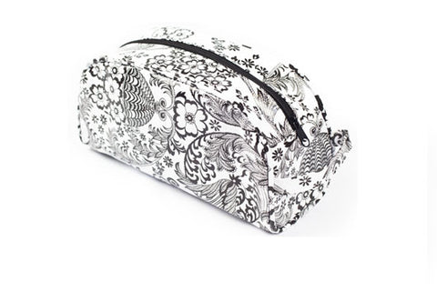 Black and White Toile Oilcloth Cosmetic Bag- Small