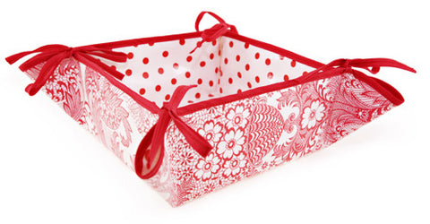 Reversible Oilcloth Bread Basket in Red and White Toile