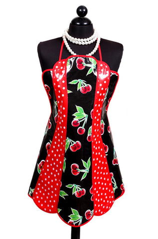 Retro Black Cherry and Polka Dot Oilcloth Apron