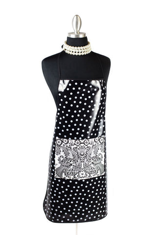 White on Black Polka Oilcloth Chef Apron