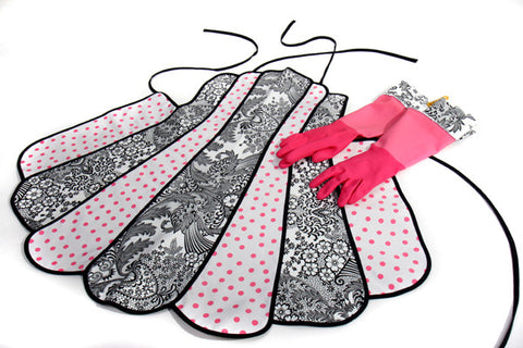 Retro Black Toile and Pink Polka Apron and Glove Set