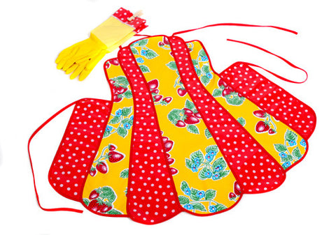 Retro Yellow Strawberry Apron Set