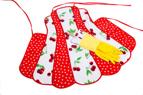 Retro White Cherry Apron and Glove Set