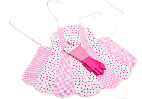 Retro Pink Polka Dot Apron and Glove Set