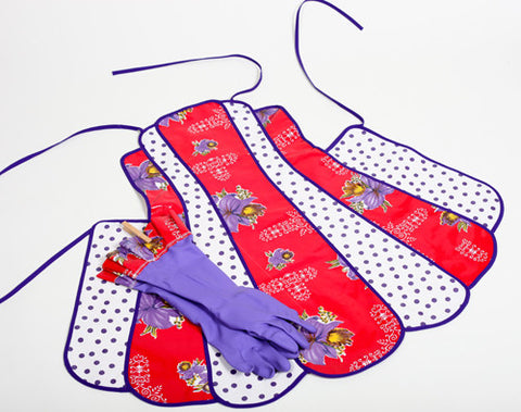 Retro Red Hat Oilcloth Apron and Glove Set