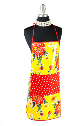Yellow Hibiscus Oilcloth Chef Apron