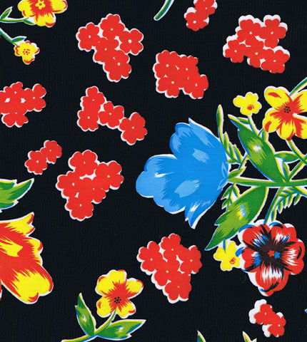 Black Vintage Flower Oilcloth Fabric