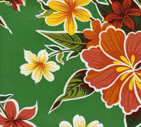 Green Hibiscus Oilcloth Fabric