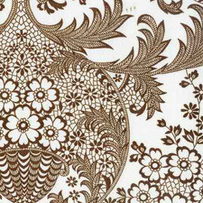 Brown and White Toile Oilcloth Fabric