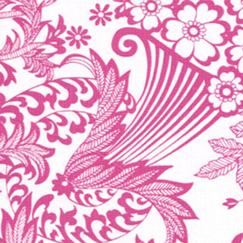 Pink And White Toile Oilcloth Fabric