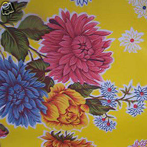 Yellow Mums Oilcloth Fabric