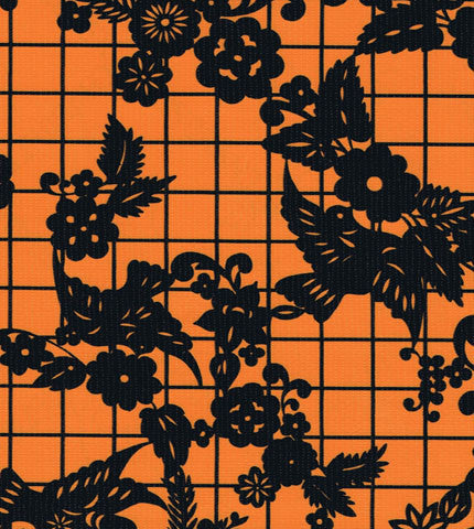 Orange Day of the Dead Oilcloth Fabric