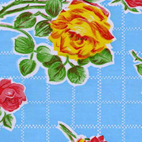 Aqua Rose Oilcloth Fabric