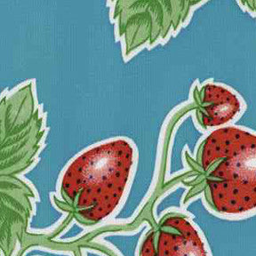 Light Blue Strawberry Oilcloth Fabric