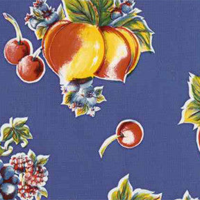 Blue Pears and Apples Oilcloth Fabric