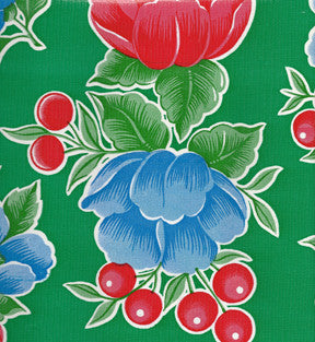 Green Poppy Oilcloth Fabric