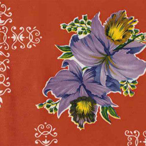 Red Orchid Oilcloth Fabric