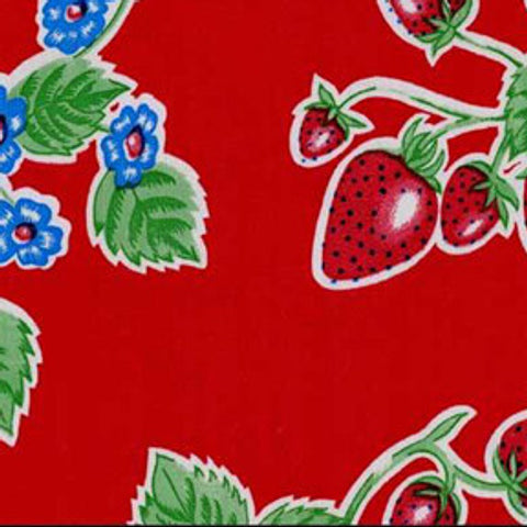 Red Strawberry Oilcloth Fabric
