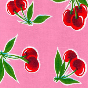 Pink Cherry Oilcloth Fabric