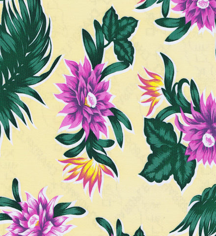 Yellow Tropical Oilcloth Fabric