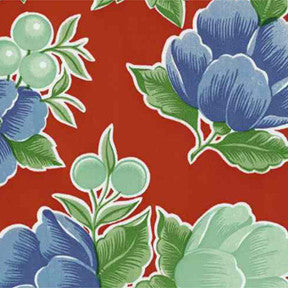 Red Poppy Oilcloth Fabric