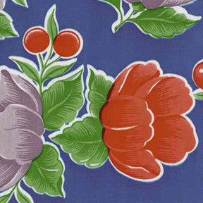 Blue Poppy Oilcloth Fabric