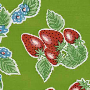 Green Strawberry Oilcloth Fabric