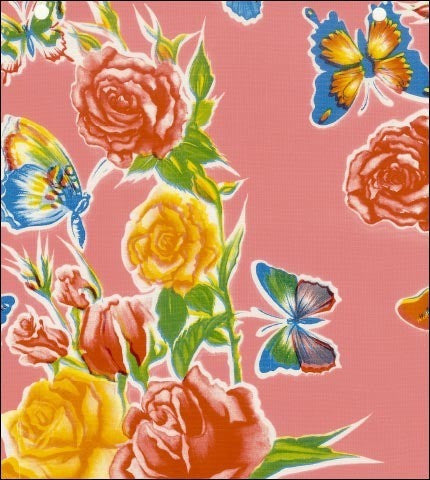 Pink Butterfly Bouquet Oilcloth Fabric