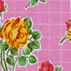 Pink Rose Oilcloth Fabric