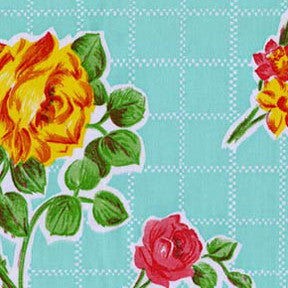 Seafoam Green Rose Oilcloth Fabric