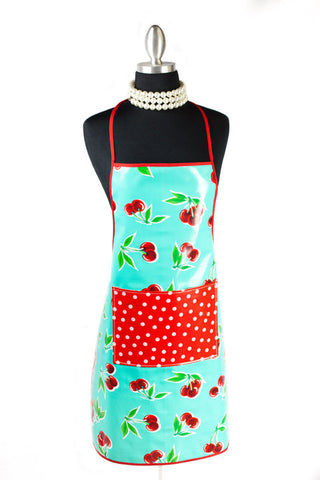 Turquoise Cherry Oilcloth Chef Apron