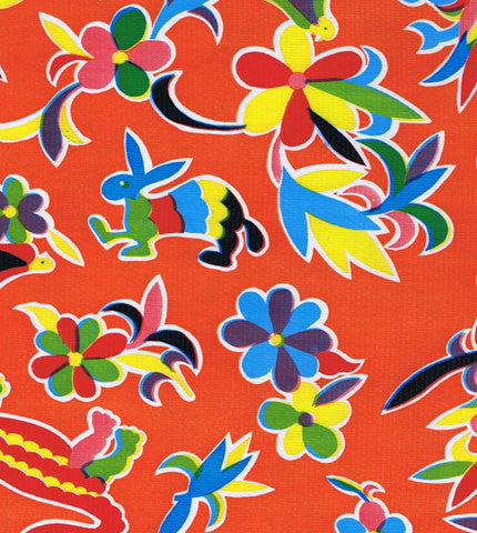 Orange Oaxaca Oilcloth Fabric