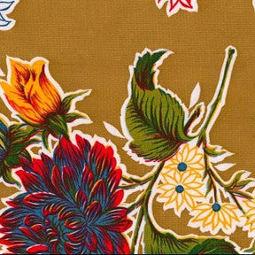 Tan Mum Oilcloth Fabric by the Yard