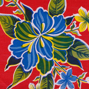 Red Hibiscus Oilcloth Fabric