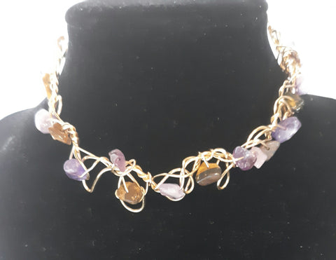 Amethyst and Tigers Eye Chic Choker