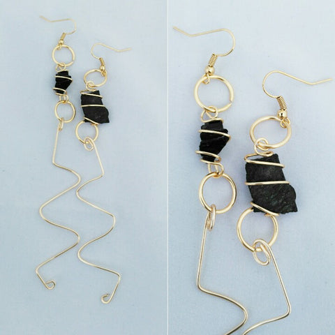 Black Tourmaline Chip Earrings
